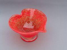 Hand Blown Art Glass Heart Shaped Bowl