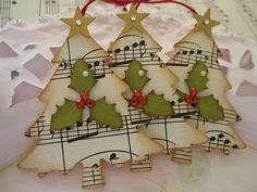 tree ornaments from sheet music or tags: