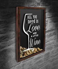 """Quadro para Rolhas - All you need is love 6  Com a frase: """"All you need is love and a little wine""""      www.quadronovo.com.br #lojaquadronovo #portarolhas #quadrosdecorativos #vinho #wine #vino #quadrorolhas #rolhas #espacogourmet #cozinha #decoracao #amigos #amizade #brothers #familia"""