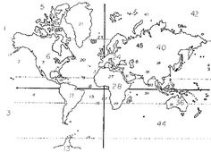 World Oceans and Continents Map Robinson Projection