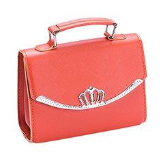 Spalison New Korean Style Tide Small Square Bag PU Leather Ladies Fashion Bag Cross pattern Shoulder Bag Diagonal Cross Handbags Orange *** AMAZON Great Sale