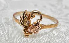 10K Gold Ring Size 7 Black Hills Gold Ring Grapes & Leaves C.CO Coleman 3g. http://www.ebay.com/itm/400641133148?ssPageName=STRK:MESELX:IT&_trksid=p3984.m1555.l2649
