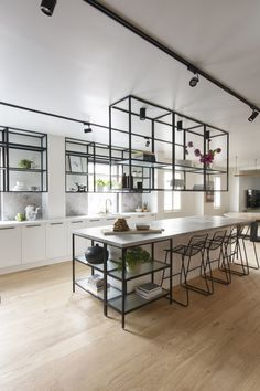 The Block 2018 Challenge Kitchen – a modern and industrial monochrome design. Black steel shelving units and white joinery. Interior Design Kitchen, White Kitchen Design, Steel Shelving, Kitchen Shelves, Kitchen Interior, Black Kitchens, Kitchen Remodel, Industrial Kitchen Design, Rustic Kitchen
