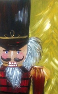 Nutcracker Painting! He's so cute, matches reindeer, santa, snowman and elf!