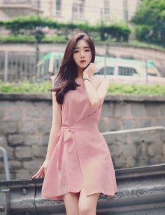 2018 Summer New Korean Sweet Lace Solid Loose Round Collar Irregular Sleeveless Women's A-Line Dress Club Dress Casual Dress Bandage Dress Formal Dresses For Women, Casual Dresses, Fashion Dresses, Women's A Line Dresses, Club Dresses, Pink Dresses, Dress Sash, Dress With Bow, Wrap Dress