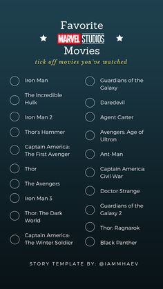 Favorite Marvel Movies Instagram Story Template