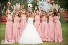 vestido de novia, ramo, boda, damas de honor, bridemaids