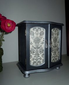 Vintage Chic Damask Jewelry Armoire - Hand Painted in Annie Sloan Chalk Paint