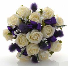 Brides Ivory Rose, Thistle & White Heather Wedding Bouquet ...
