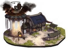 최우진[Cloujins] 아틈 강사 www.facebook.com/cloujins www.arteum.net Building Concept, Building Design, Cartoon House, 3d Background, Environment Concept Art, Game Character, Game Design, Architecture Design, Steampunk