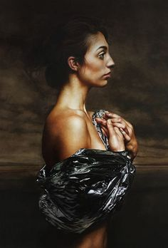 Mitch Griffiths (English, b. 1971), oil on canvas {figurative realism art female profile standing woman face portrait cropped painting #loveart} mitchgriffiths.com