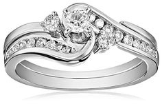 IGI Certified 14k White Gold Interlocking Diamond (1/2cttw, H-I Color, I1-I2 Clarity) Wedding Ring Set