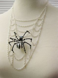 Charlotte  Spider Web Necklace  Halloween Jewelry by MegaloDesigns  Amazing necklace!  Great work!