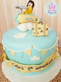 1st Adventure Cake Sweet Cakes, Fondant, Birthday Cake, Adventure, Desserts, Food, Tailgate Desserts, Fondant Icing, Birthday Cakes