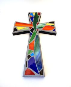 """Mosaic Wall Cross, Abstract Floral Design, """"Tropical Garden"""", Multicolored/Bright Handmade Stained Glass Mosaic 12"""" x 8""""  $45.00"""