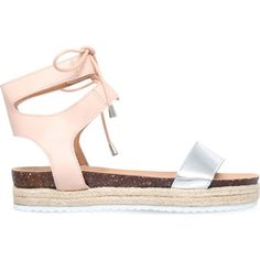 MISS KG Peony laced espadrille sandals (£55) ❤ liked on Polyvore featuring shoes, sandals, nude, laced sandals, cork shoes, ankle wrap sandals, lace up espadrilles and nude sandals