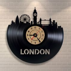London art clock made of vinyl record, London skyline, London underground…