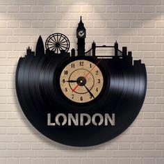 London art clock made of vinyl record, London skyline, London underground…