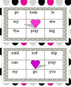 Valentine Dolch Word Bingo - Carol Redmond - TeachersPayTeachers.com