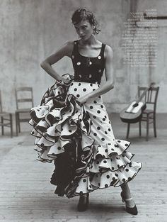 "mysleepykisser-with-feelings-hid: "" ""Escuela Flamenca"", Vogue Spain, December 1998 Model : Laura Ponte "" Shall We Dance, Just Dance, Dance Photography, Fashion Photography, Laura Ponte, Fashion Art, Editorial Fashion, White Editorial, Trendy Fashion"