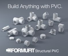 How to build anything with PVC.FORMUFIT PVC Plans Library Get Inspiration to build your ideas. Or just build ours. FREE PLANS #hydroponicspvc