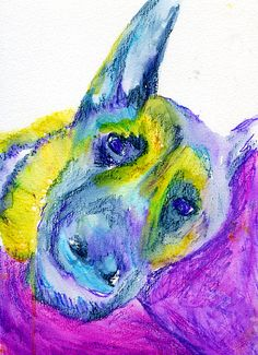 German Shepherd Dog painting art print GSD gift idea, GSD lover Alsatian painting print Blue yellow abstract home decor… #dogs #etsy #art