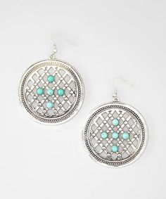 Another great find on #zulily! Turquoise & Silver Lattice Earrings #zulilyfinds