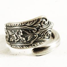 Edwardian Rose Sterling Silver Spoon Ring, Handmade Gift for Her with Custom Ring Size (5389) by Spoonier on Etsy