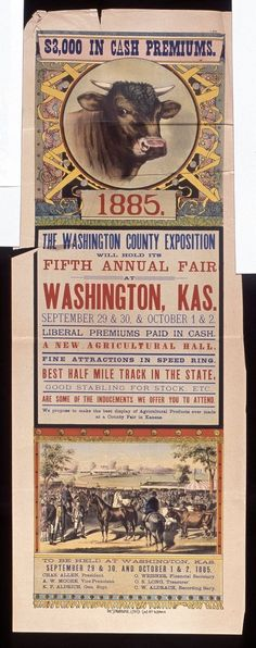 Detail from the poster for the Fifth Annual County Fair, Washington, Kansas, September, 1885, photo credit: Kansas Historical Society
