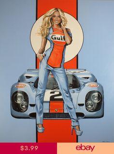 Porsche Golf Autorennen Pin Up Girl Bild Poster - garage art - Auto Auto Poster, Car Posters, Pin Up Posters, Vintage Racing, Vintage Cars, Carros Lamborghini, Lamborghini Gallardo, Up Auto, Garage Art