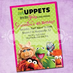 Muppets Party Invite on etsy - would be cool to somehow insert DD's picture in there too