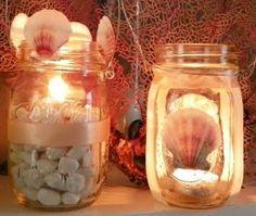 mason jar lanterns with shells