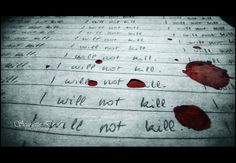 I scribbled on the paper, the blood dripping from my hand.  The tension in the room hung in the air like a tightrope.