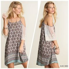 Cold Shoulder Vintage Print Dress Cold shoulder dress in vintage olive and green print.  Cream colored lace completes the sleeve for chic look.  Can also be worn as a tunic.  Fabric: 65% Cotton & 35% Polyester Beach Wave Dresses