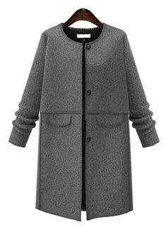 Plus Size Solid Color Single Breasted Coat | victoriaswing