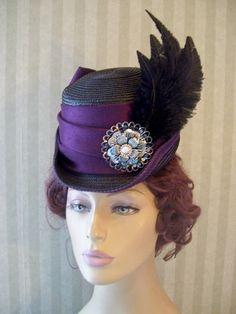 Victorian Ladies~Riding Hat~Equestrian~Civil War~Black~Feather~Millinery~Hat