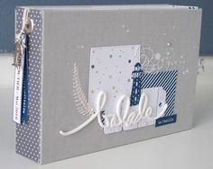 """Bonjour, Je vous présente aujourd'hui un mini-album réalisé avec les papiers de la collection """"un air marin"""" mixés aux """"essentiels"""" ainsi qu'avec plusieurs des tampons clear des nouvelles planches designées par Lydie. Des tampons extras, tout en finesse..."""