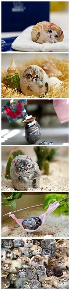 Cats, original stone realistic stone Taiwanese artist Li Hongxiang art teacher painted stone   Gatos,  realistas de piedra de piedra artista taiwanés Li maestro Hongxiang original del arte de piedra pintada