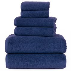 d28170801c Lavish Home 100% Egyptian Cotton Zero Twist 6-Piece Towel Set Navy Bath  Towel