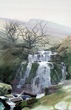 Waterfall beneath Pen y Fan, an original watercolour painting by Rob Piercy