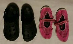Lot Of 2 Girls Size Black Clogs New & Pink Water Shoes excellent used condition. Water shoes have an adjustable hook & latch strap. Crocs Crocband, Girls Dress Shoes, Brown Flats, 2 Girl, Clogs Shoes, Water Shoes, Fashion Flats, Green And Purple, Kids Girls