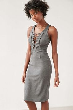 Silence + Noise Grommeted Lace-Up Midi Dress Urban Outfits 2630ffa8c
