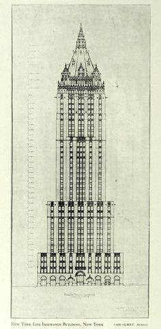 Elevation of Cass Gilbert's New York Life Insurance Building, New York City