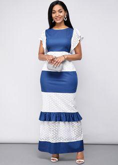 Maxi Dress With Sleeves, Short Sleeve Dresses, Patchwork Dress, African Attire, Elegant Dresses, Trendy Dresses, Women's Fashion Dresses, Lace, Africa Dress