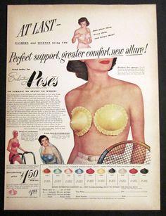 Vintage 1949 Enchanting Poses Lingerie Strapless Bra Cups Edison Co. Retro Ads, Vintage Advertisements, Vintage Ads, Funny Vintage, Vintage Stuff, Vintage Images, Magazine Pictures, Vogue, Vintage Swimsuits