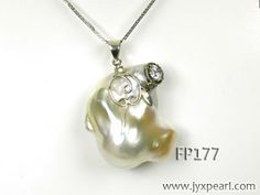 Baroque Pearl Pendant--- Unique Big AA Baroque Pearl Pendant with Sterling Silver FP177 Image 1
