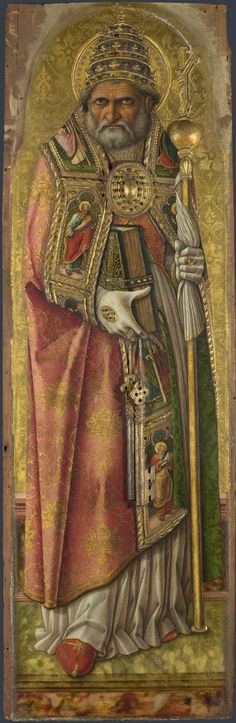 Carlo Crivelli (1435 – 1495) | Polyptych of San Domenico. Saint Peter (detail). National Gallery, London.