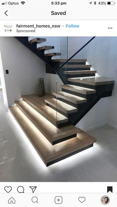 LED strip lighting to illuninate the feet journey. LED strip lighting to illuninate the feet journey.,Wohndesign LED strip lighting to illuninate the feet journey. Home Stairs Design, Railing Design, Interior Stairs, Stairs Architecture, Light Architecture, Architecture Design, Wood Stairs, House Stairs, Painted Stairs