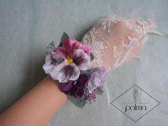 【現品のみ】 ミックスフラワーのリストレット❋パンジー・パステル・パープル・ラベンダー・ピンク・❋ Minne, Bracelets