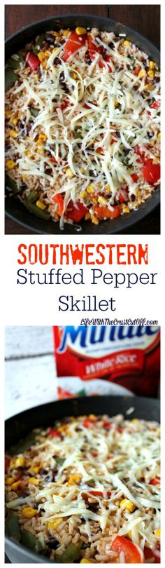Southwestern Stuffed Pepper Skillet This is one fast easy dinner and you can have it on the table in no time! All the flavor of stuffed peppers simplified! ad